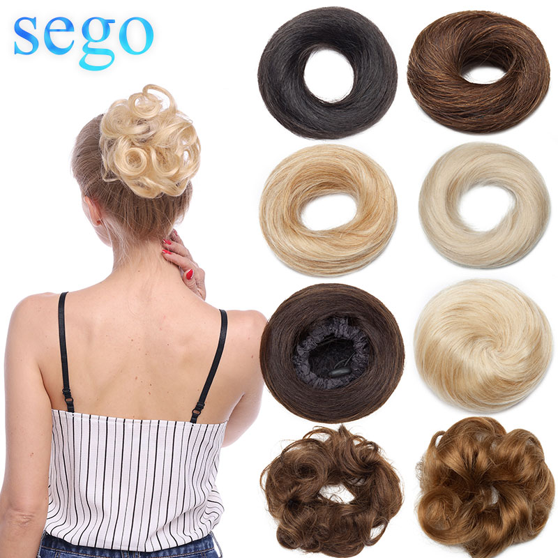 SEGO 23g 30g 100% Real Human Hair Curly Hair Bun Scrunchies Updos Donut Chignon Hair Extensions Wrap Ponytail Remy Hairpiece