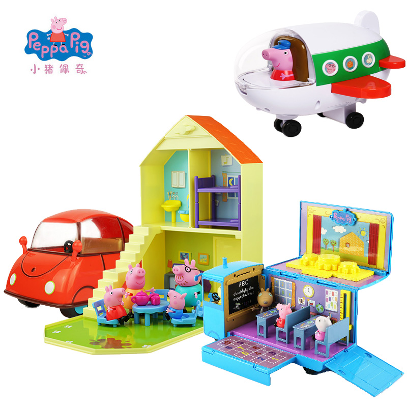 Original Peppa Pig Educational Toys Simulation House Fun School Bus Classroom George Family Friends Party Scene Figures Toy Gift