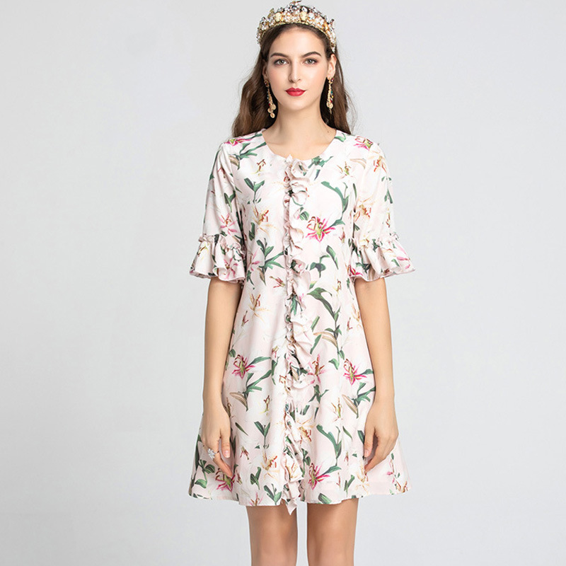 Chic floral print flare sleeves women sweet dress 2019 summer runways ruffles A733