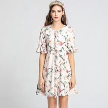 Chic floral print flare sleeves women sweet dress 2019 summer runways ruffles dress A733