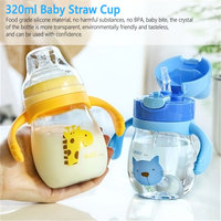 Portable Hot Water Bottle Travel Mug Training Cup Learn Drinking Sippy Cup 320ml Baby Kids Straw Feeding Cup Milk Cup