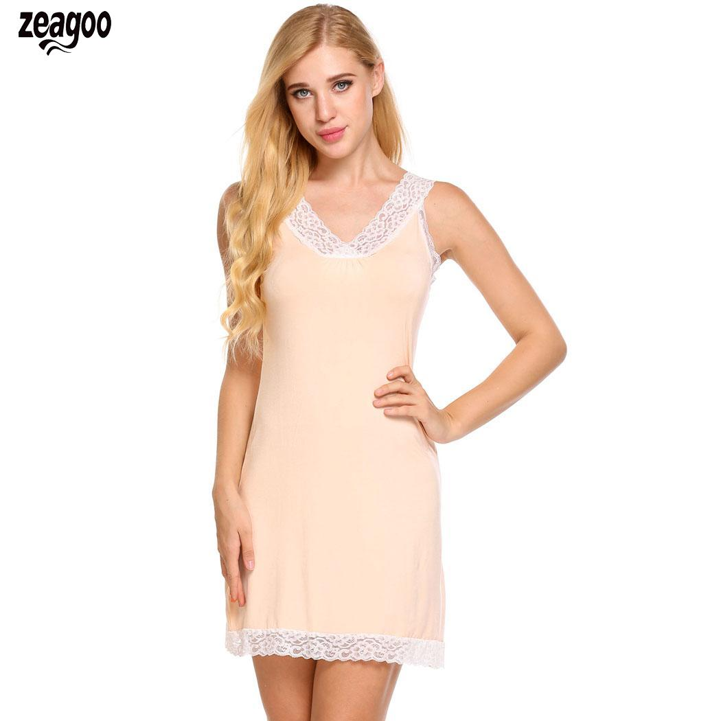 Womens Summer Sleepwear Chemise   Sleepshirts   Sleeveless Pajamas Solid V Neck Luxury Cozy Lace   Nightgown   Home Dress