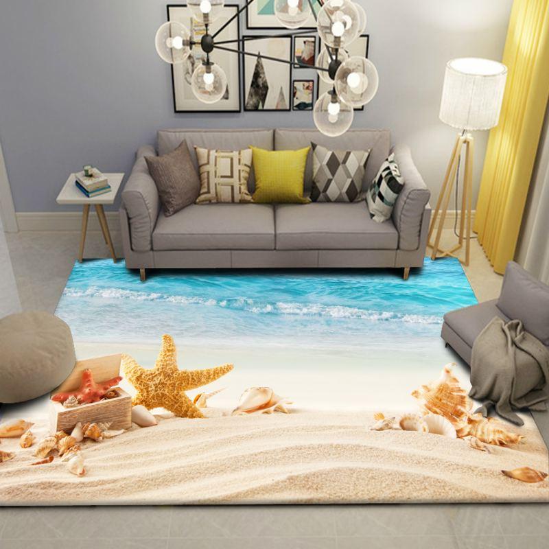 Beach Scenery Carpet Children's Room Wall to Wall Bed Blanket Style Living Room cha ji tan Bedroom Tatami Floor Mat