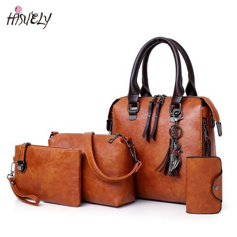4 pcs sets wax oil leather bag ladies handbags women designer shoulder bag tassel high quality famous sac a main bolsa feminina Pakistan
