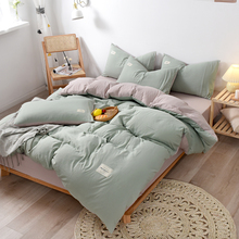 4pcs Japanese bedding solid color stripe quilt cover sheet pillowcovers all seaso set A/B pattern double sided simplicity bedset