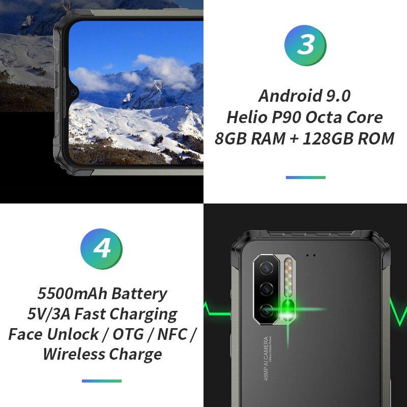 Смартфон Ulefone Armor 7 IP68, трекер сердечного ритма, Android 9,0, NFC Helio P90, четыре ядра, 6,3 дюйма, 8 ГБ + 128 ГБ, 48MP, 4G, 5500 мАч, телефон