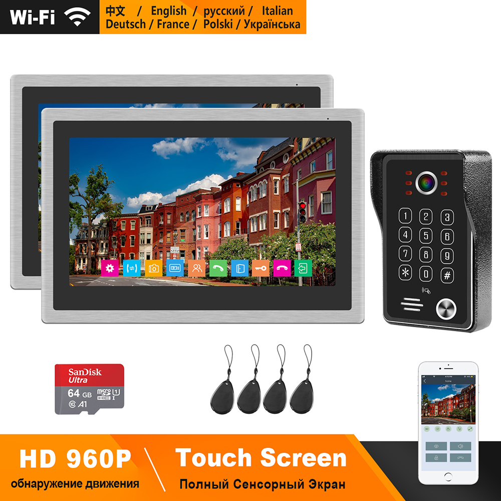 HomeFong Wireless Video Door Phone For Home WIFI Intercom System 10 Inch Touch Screen HD Monitor 130 Degree Doorbell APP Control
