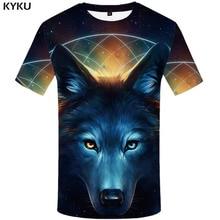 KYKU Wolf Tshirt Men Print T-shirt Galaxy 3d T shirt Animal Clothes Funny T shirts Casual Mens Clothing summer Short Sleeve 2019 стоимость