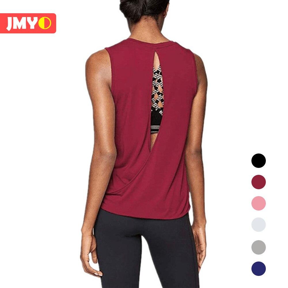 Roupas de Treino para as Mulheres Aberta para trás Camisa Cruz Yoga Topos Muscle Teal Tanque Correndo Regata Treino Racerback