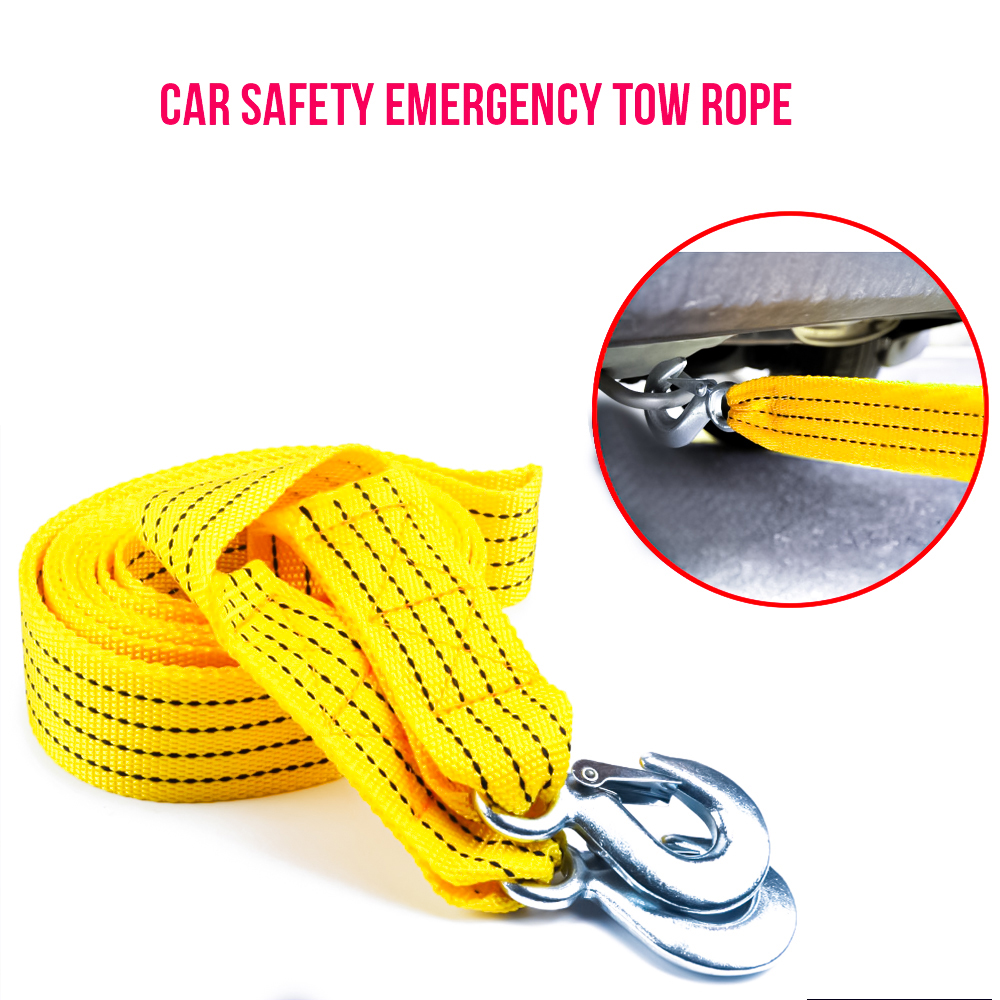 Car tow rope thick nylon car safety emergency traction rope with drag hook strap 4*5M