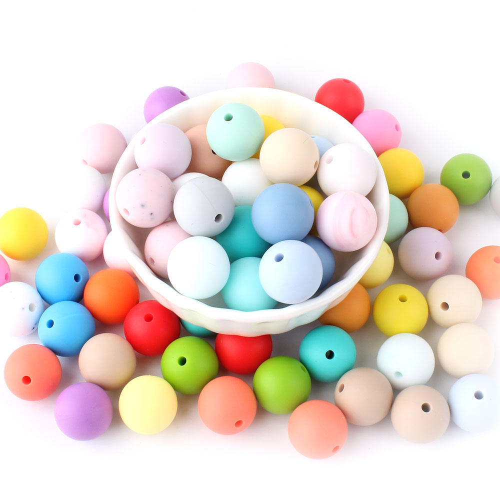 Keep&Grow 20pcs 15mm Round Silicone Beads Teething Baby Care Oral Toys Pacifier Chain Accessories Baby Teether Products BPA Free
