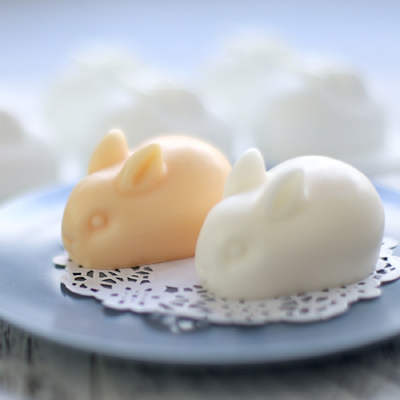 FUNBAKY 6 Cavity 3D  Rabbit Shape Animal Silicone Mold For Soap Making DIY Handmade Loaf Moulds Wedding Silikon Form