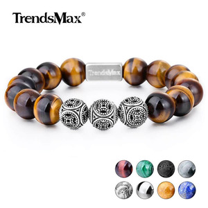 Image 1 - Trendsmax 10MM A Tiger Eye Beaded Bracelets Women Men Natural Stone Stretch 925 Sterling Silver High Quality Jewelry TBB005