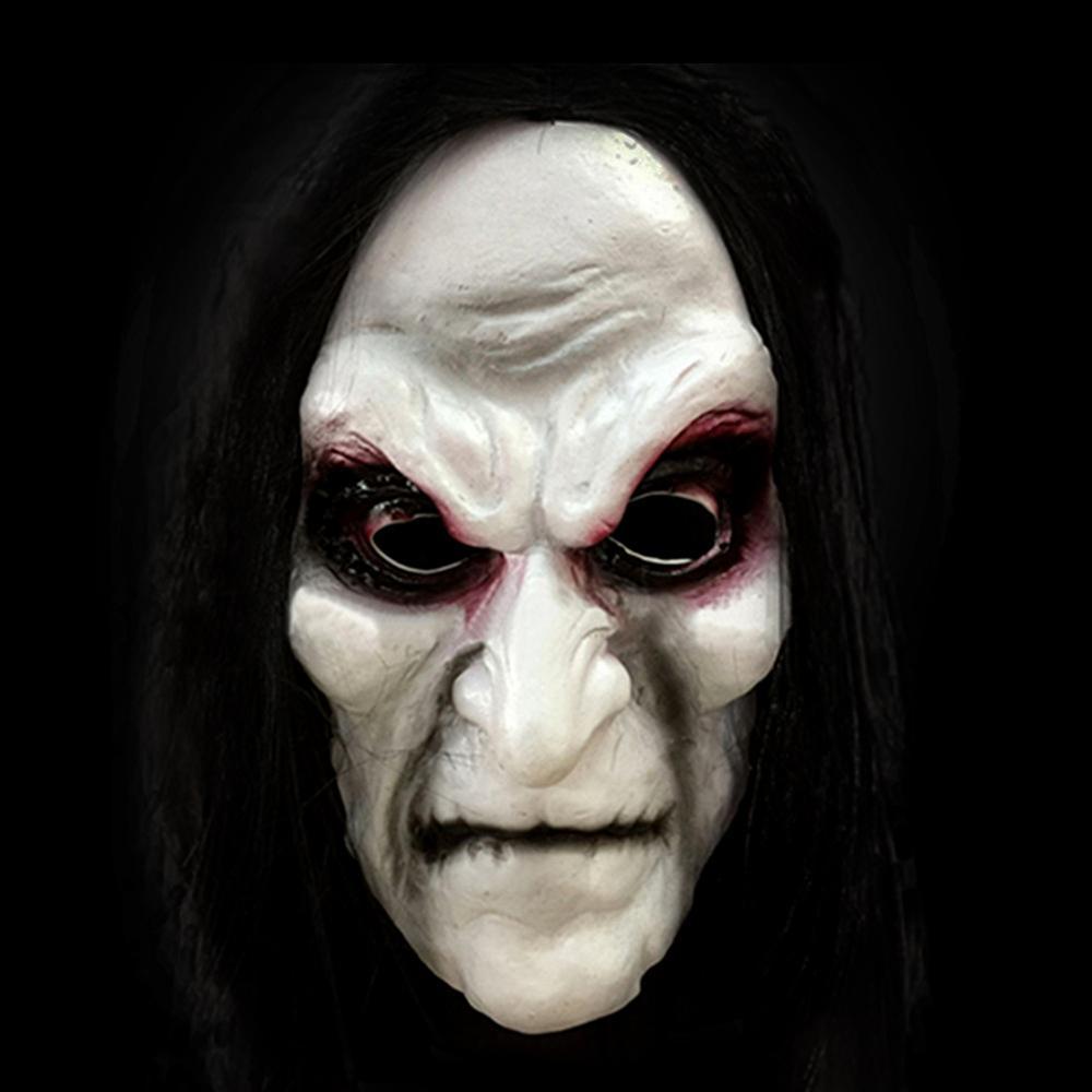 Halloween trajes máscara preto longo cabelo cosplay máscara fantasma blooding fantasma halloween máscara festa de aniversário decoração adereços fornecimento