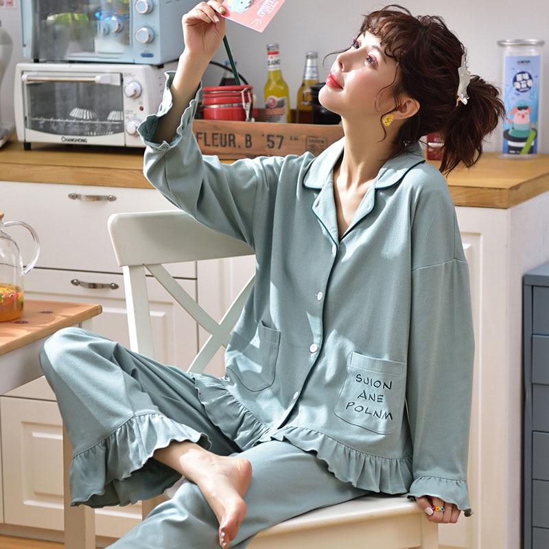 Tonmodi Дамский пижамный комплект весна и осень тонкий японский сладкий мультфильм печати с длинным рукавом милый Кукла Пижама с воротником Повседневная - Цвет: 6940