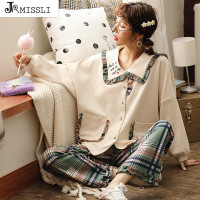 JRMISSLI Sexy Cotton Pajamas Set New Women Long Sleeve Sleepwear Pajamas Suit Female Two Piece Sleepwear Nightwear Sleep Lounge