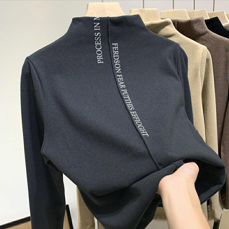 2020 fall/winter women's pullover plush sweater Korean style stretch casual pullover fashion slim high neck warm female sweater