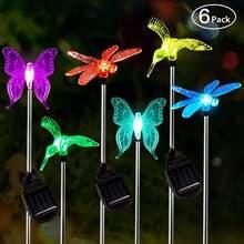 6 pçs borboleta solar libélula colibri luz do jardim ao ar livre solar estaca luz mudança de cor solar paisagem gramado quintal luz