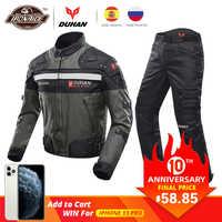DUHAN Antivento Tuta Moto Da Corsa Equipaggiamento Protettivo Armatura Del Motociclo Giacca + Pantaloni Moto Hip Protector Moto Insieme Dei Vestiti