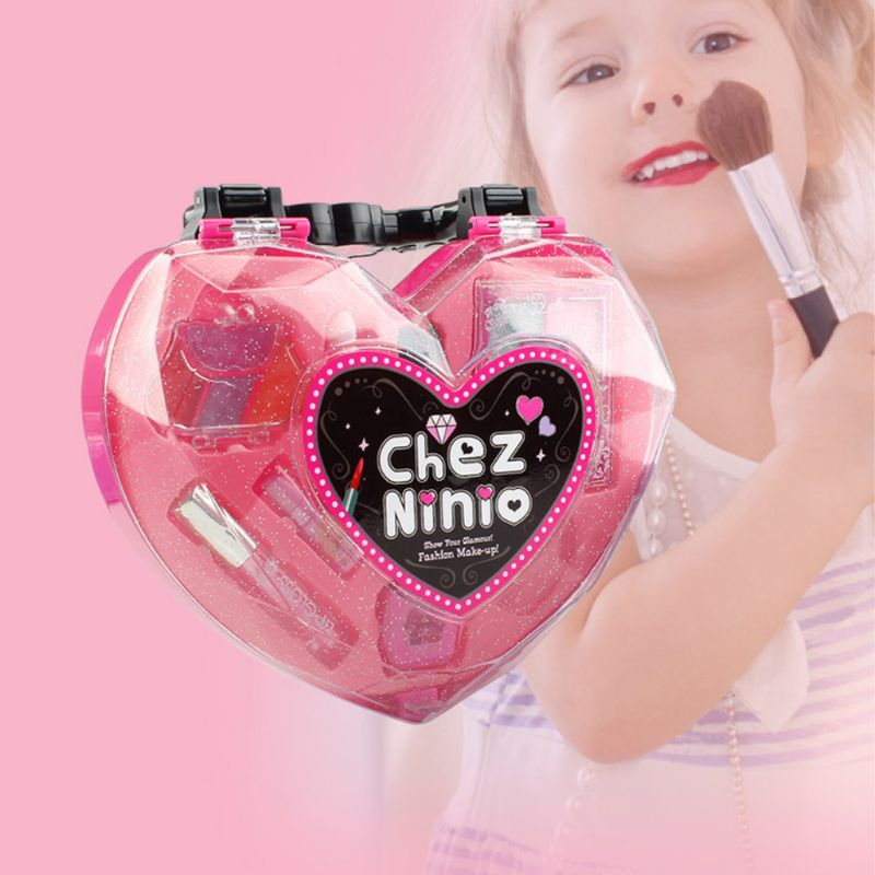 Kids Girl Princess Makeup Cosmetic Suit Toys Box Heart Shaped Beauty Bag Pretend Play For Travel