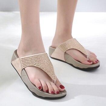 Rhinestone Women Slippers Flip Flops Summer Women Crystal Diamond Bling Beach Slides Sandals Casual Shoes Platform Woman Shoes 1