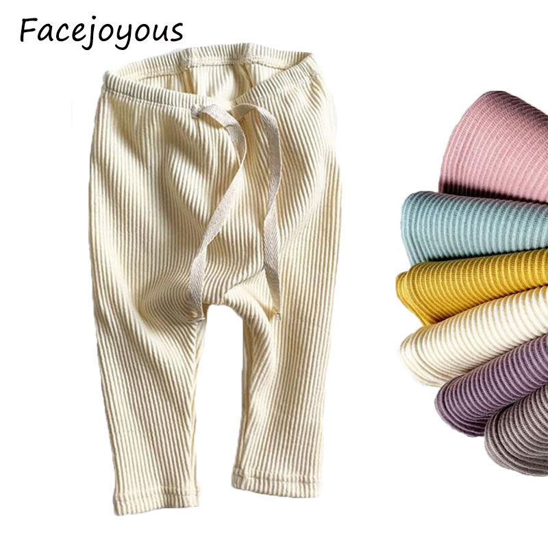 Baby Girls Solid Leggings Boys Ribbed Pp Pants Little Boy Casual Harems Pants Kids Trousers Bottoming Pant
