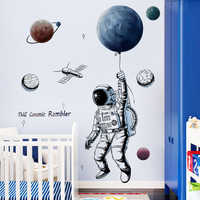 Space theme astronaut wall sticker dormitory living room wall decor self-adhesive bedroom 3d kids room decoration free shiping