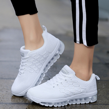 Women Sneakers White Flying woven mesh air cushion Tennis Shoes Breathable Femal