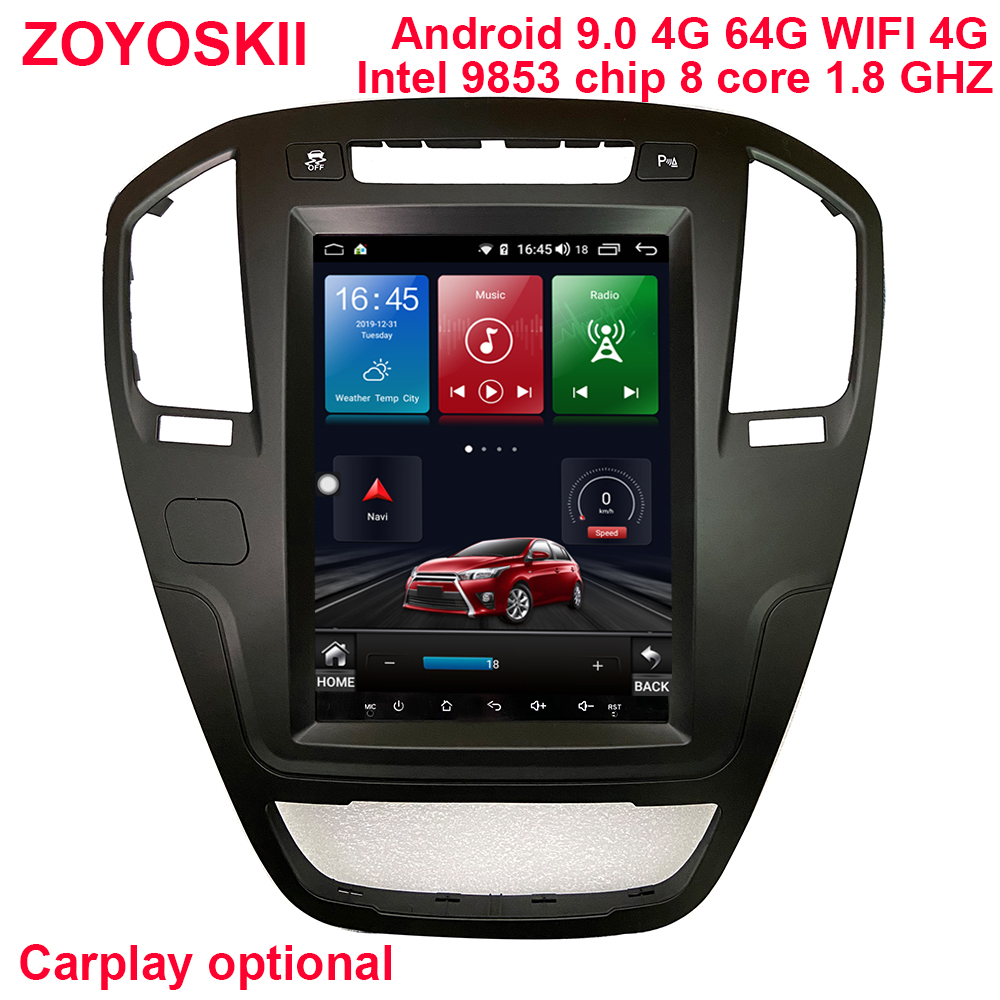 64G Rom Android 9.0 Os 10.4 Inch Vertical Car Gps Multimedia Player For Opel Insignia 2009-2013 Carplay