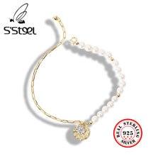 S'steel pearl bracelet 925 sterling silver for women coin