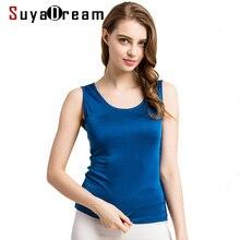 SuyaDream נשים טנקי 100% נדל משי מוצק בסיסי אפוד O צוואר שרוולים השפל חולצה 2020 SprinSummer חולצות שחור לבן אפור