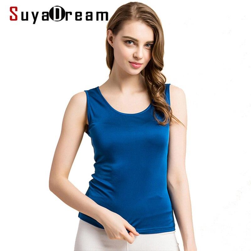 Women Tanks 100%Real Silk Solid basic Vest O neck tank top Sleeveless bottoming shirt 2019 Summer New tops Black White Gray