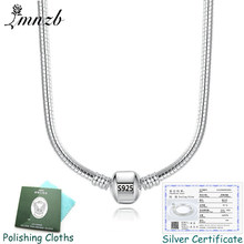Have Certificate Brand Pan Original 925 Silver Charms Necklace Best Gift 3mm 45-60cm Chain Necklaces for Women DIY Jewelry PN005(China)