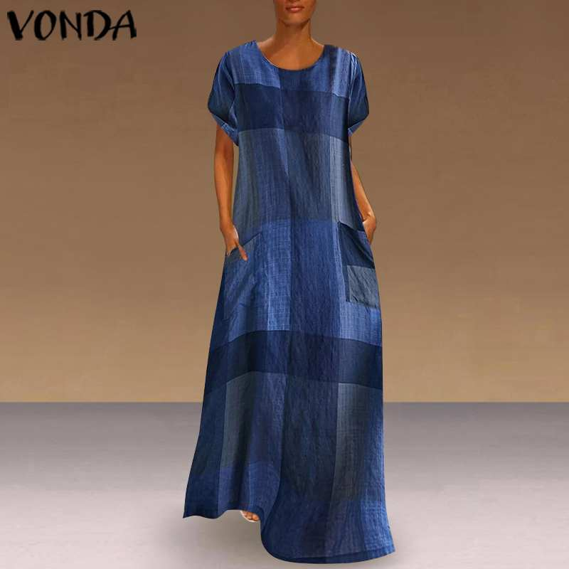 VONDA Bohemian Vests Vintage Patchwork Plaid Maxi Dress Women Holiday Beach Dress 2019 Casual Loose Summer Sundress Plus Size