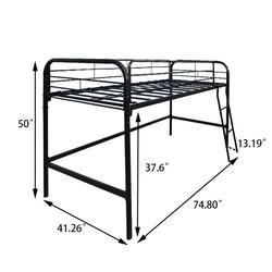 Jurmerry Modern Kid Bunk Bed Metal Single Bed Guard Rail Ladder Children Bedroom Loft Furniture Sturdy Frame Easy Assembly Black Aliexpress