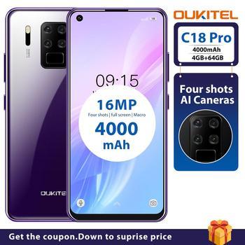 Перейти на Алиэкспресс и купить Смартфон OUKITEL C18 Pro на Android 6,55, восемь ядер, экран 9,0 дюйма, 4 Гб + 64 ГБ