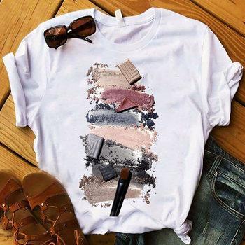 T-shirty damskie graficzne 3D paznokcie u rąk farba kolor moda słodkie nadruki topowy Tshirt trójnik żeński T-Shirt damski T-shirt Top tanie i dobre opinie Modalne Krótki REGULAR Dzianiny Cartoon NONE Na co dzień O-neck Print conventional O-neck Fabric O neck T-shirt Sport