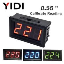 Ac 30-500v ac 0-600v 0.56 volvoltímetro digital calibrar a leitura dc 3.5-30v dc 0-100v vermelho verde azul display led medidor de tensão