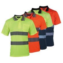 Twee Tone Veiligheid Polo Shirt Oranje Hoge Zichtbaarheid Reflecterende Shirt Met Zakken
