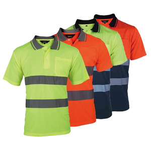 Image 1 - Two Tone Safety Polo Shirt Orange High Visibility Reflective Shirt With Pockets