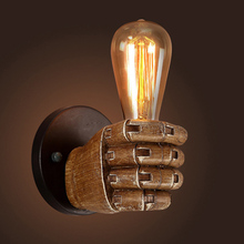 1Pc Creative Retro E27 LED Resin Fist Wall Lamp Industrial Style Light Holder Home Restaurant Decor
