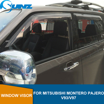 Side Window Deflector For Mitsubishi Montero Pajero V93/V97 Black Window Visor Vent Shades Sun Rain Deflector Guards SUNZ window visor vent shades sun rain guard for toyota prado fj120 2003 2009
