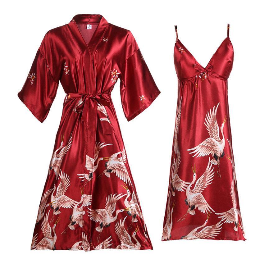 Women Satin Robe Lightweight Wedding Bride Bridesmaid Kimono Yukata Women Silk Pajamas Crane Lady's Sexy Sleepwear Nightgown