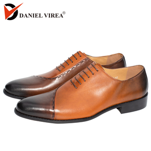 Image 1 - Mens Oxfords Leather Italian Design Fashion Luxury Brand Double Color Office Formal Pointed Toe Men Dress Wedding Shoes