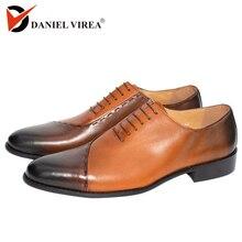 حذاء رجالي من Oxfords مصنوع من الجلد بتصميم إيطالي أنيق ماركة فاخرة بلون مزدوج حذاء رسمي بمقدمة مدببة حذاء رجالي لحفلات الزفاف