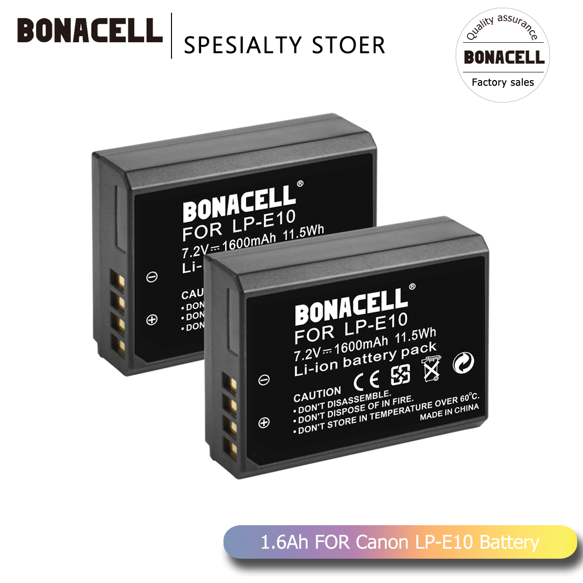 Bonacell 1600mAh LP-E10 LP E10 LPE10 Digital Camera Battery For Canon 1100D 1200D 1300D Rebel T3 T5 KISS X50 X70 Battery L50