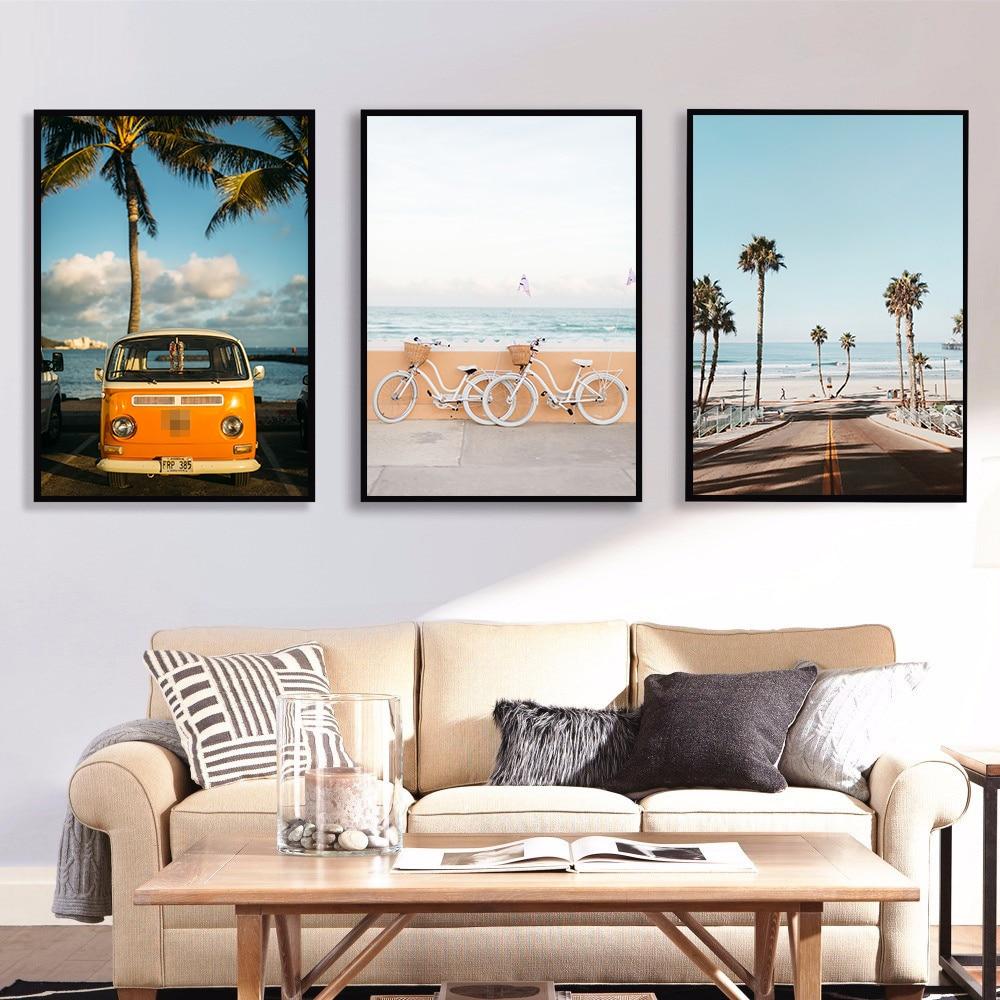 Nórdico escandinavo decoração tropical paisagem posters moderno imprime bicicleta mar praia ônibus arte da parede quadros da lona
