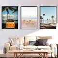 Скандинавский декор, постеры с тропическим пейзажем, современные принты, велосипед, морской пляж, автобус, настенная Картина на холсте, карт...