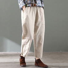 2020 Spring Loose Ankle-length Trousers Cotton Linen Harem Pants FemaleAll Match Free Size Elastic Waist Solid Color Z2 men ankle length loose cargo pants solid black color casual jogger side all match pocket elastic waist trousers spring