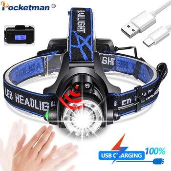 Sensor de luz de cabeza USB, faro LED, linterna impermeable, potente linterna de cabeza T6/L2/V6, linterna de cabeza con zoom